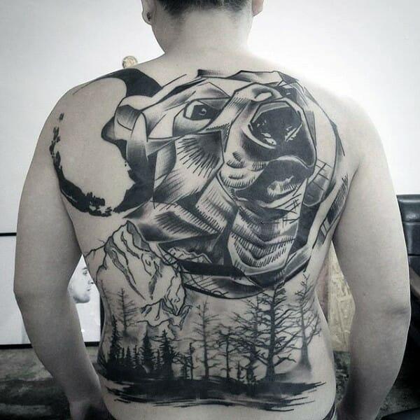 Abstract Bear Tree Tattoo