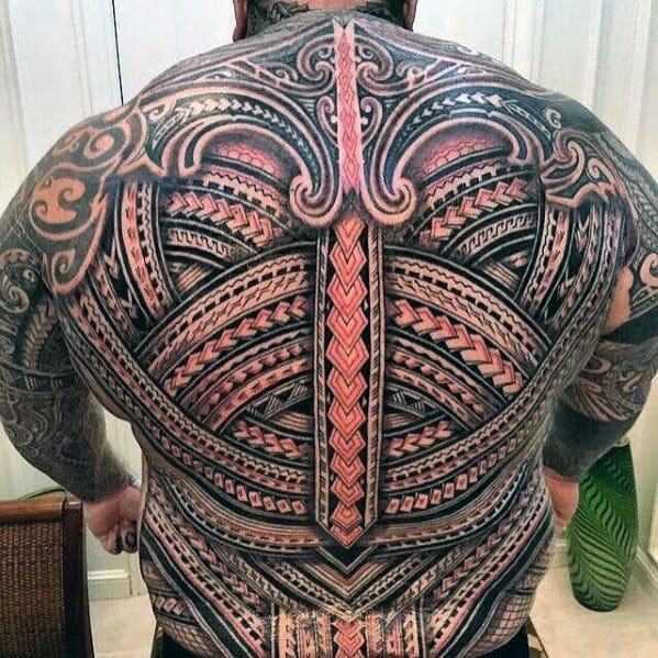 polynesian 3d tribal back tattoo