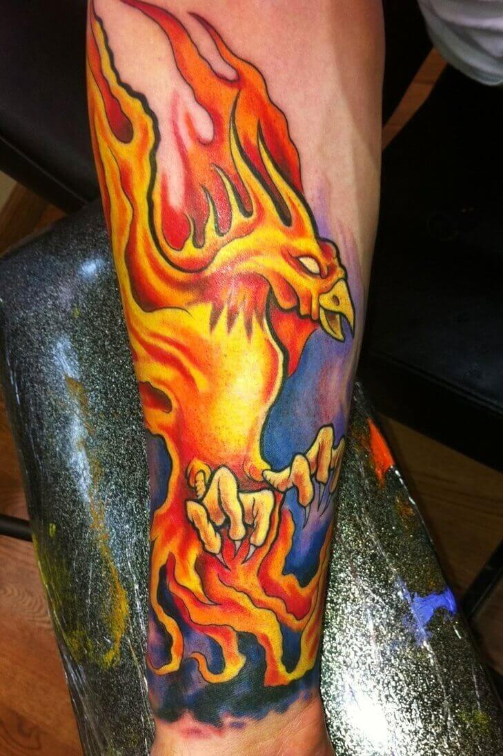 Burning Phoenix Arm Tattoo