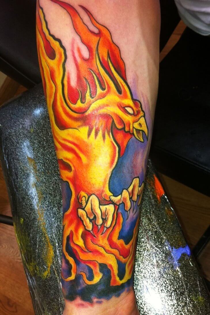 Burning Phoenix Arm Tattoo