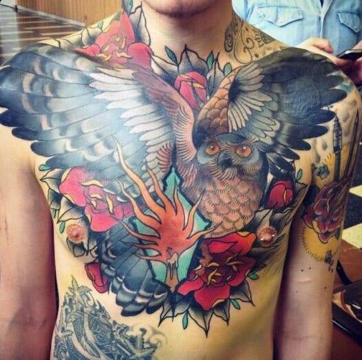Chest Owl Flying Tattoo