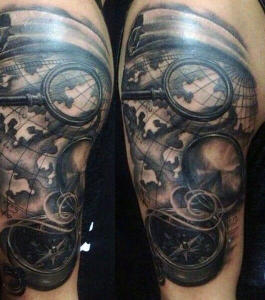 compass tattoo arm design