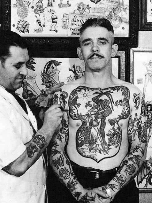 Distinct Male Vintage Chest Tattoo