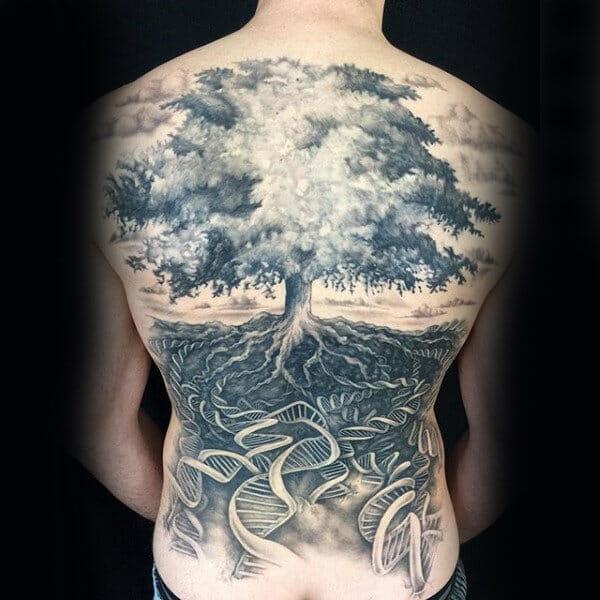 Helix Strand Tree Back Tattoo