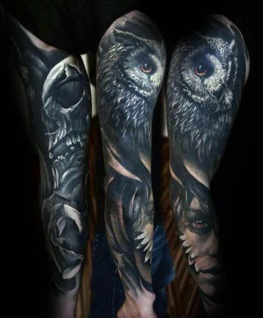 Forearm Sleeve Owl Tattoo