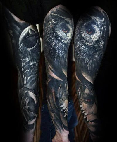 Forearm Sleeve Owl Tattoo