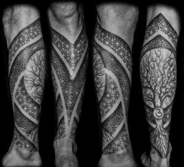 Geometric Tree Pattern Leg Tattoo