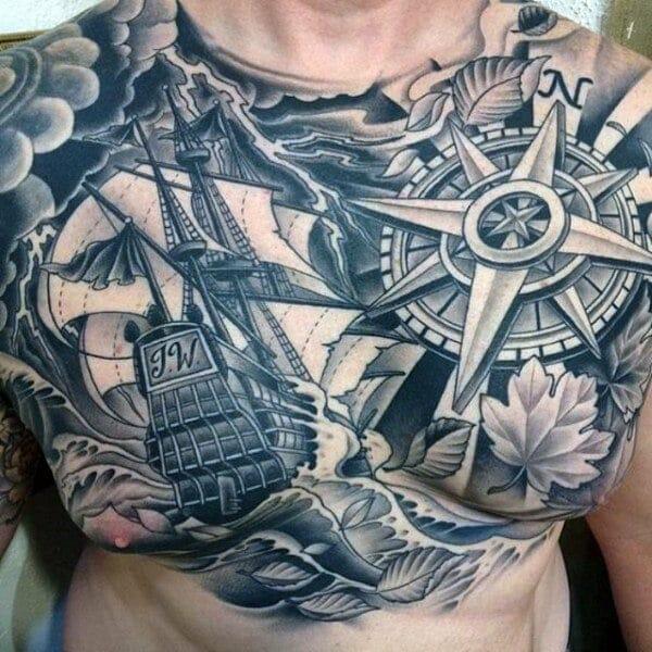 Golden Compass Chest Tattoo