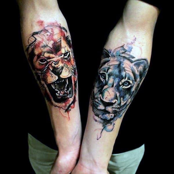 Inner Forearm Modern Lion Tattoos