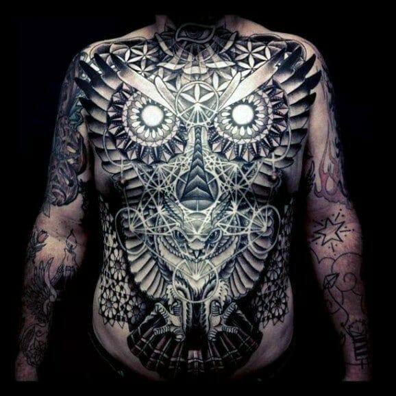 Tribal Full Body Owl Tattoo