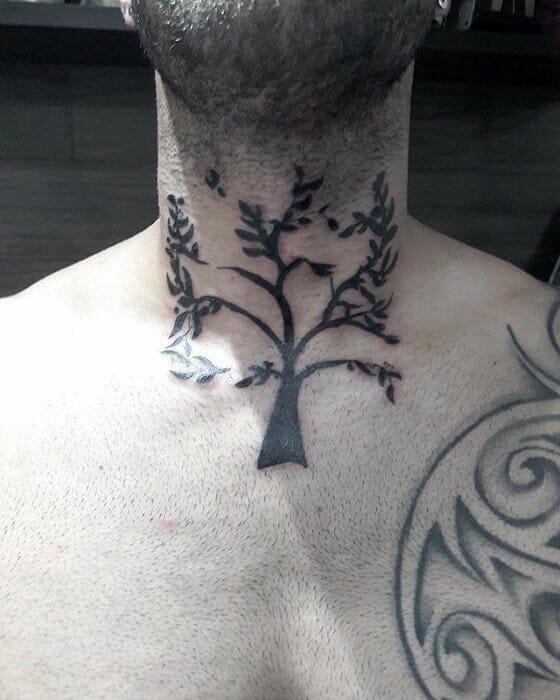 Cool Tree Neck Tattoo