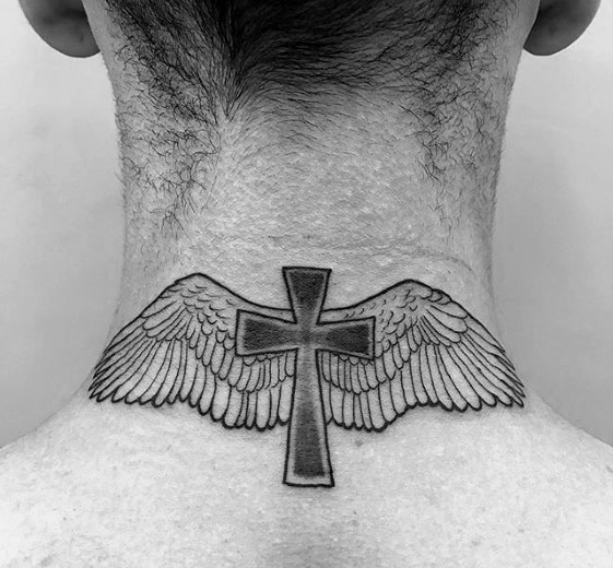 Winged Neck Cross Tattoo