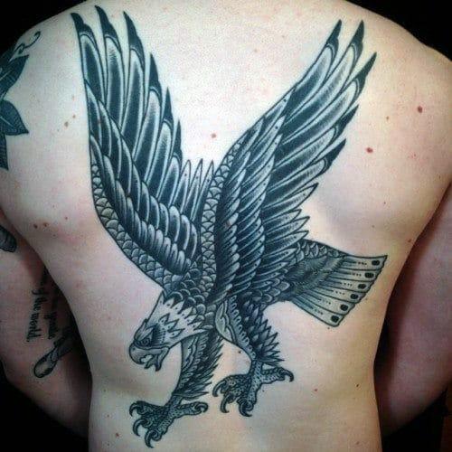 Traditional Eagle Back Tattoo