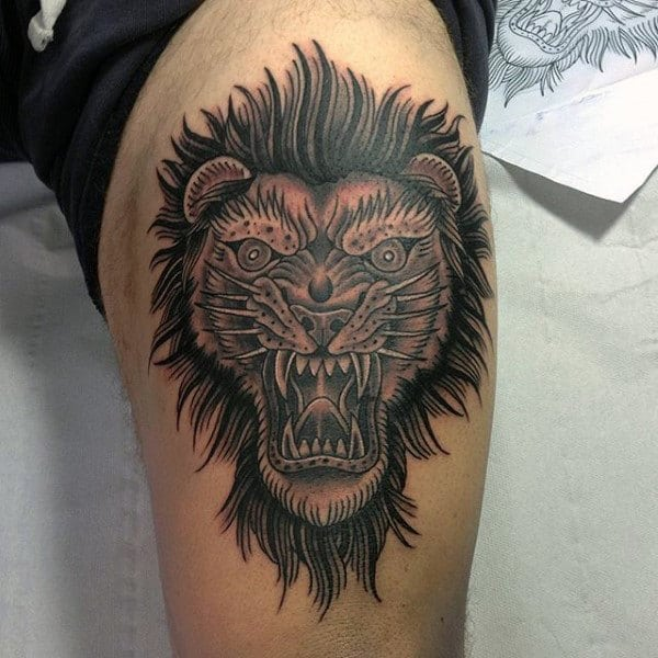Abstract Leg Lion Tattoo