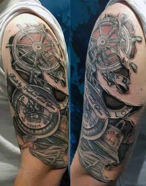 compass arm tattoo