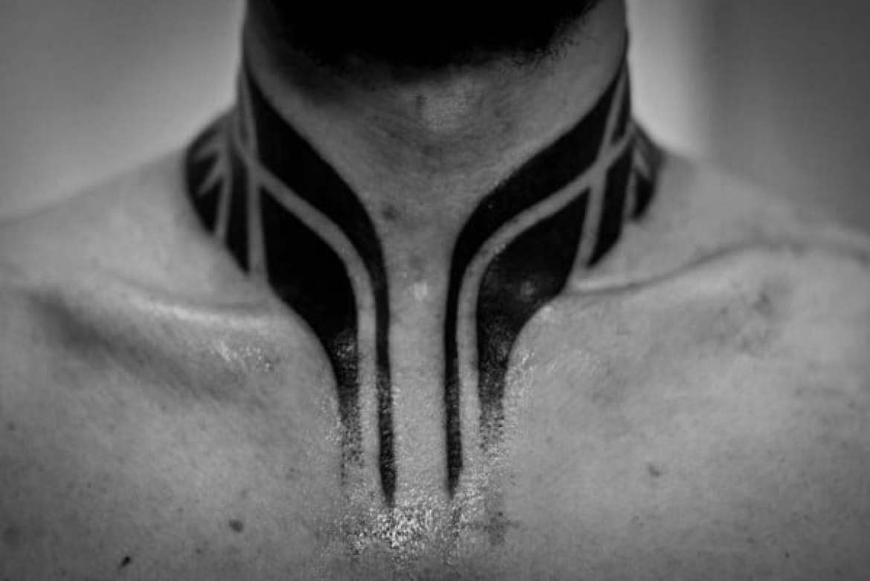 Blackwork Neck Tattoo