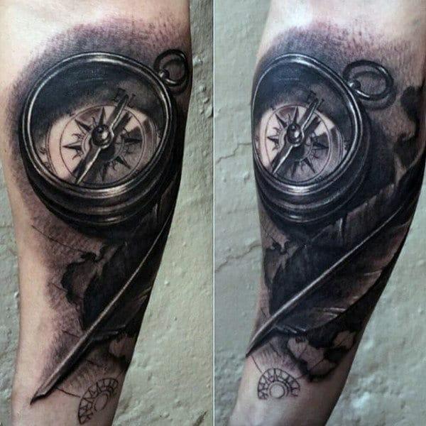 pocket compass arm tattoo