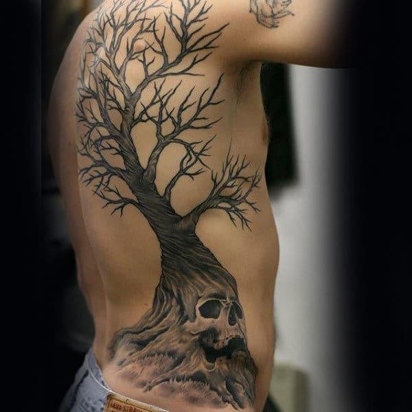 skull tree back tattoo