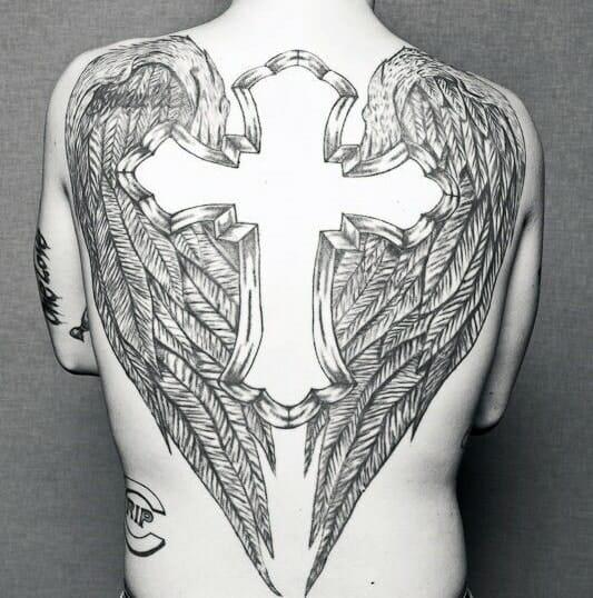 Winged Cross Back Tattoo