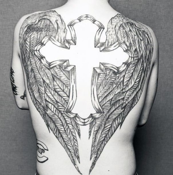 Winged Cross Back Tattoo