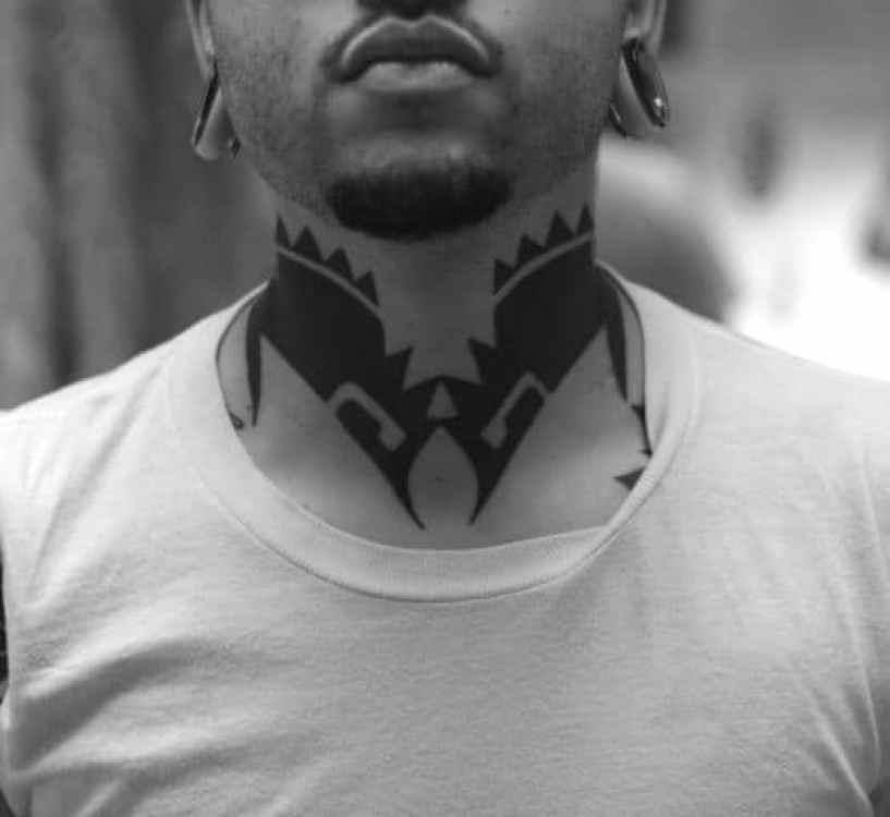 Blackwork Tribal Neck Tattoo