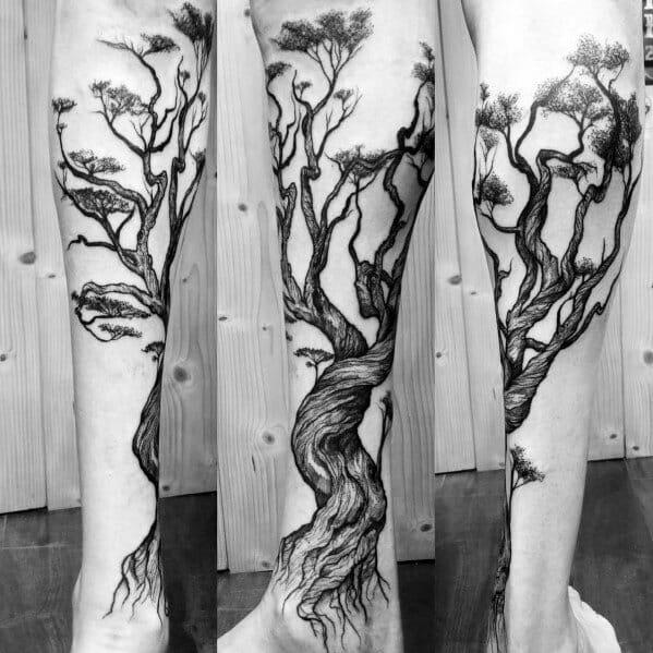 Mens tree Leg Tattoo Idea