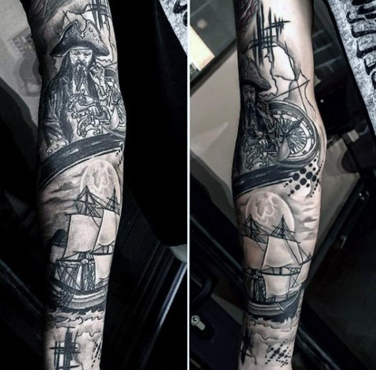 Nautical Compass Arm Tattoo