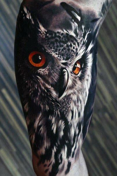 Orange Eyed Owl Tattoo