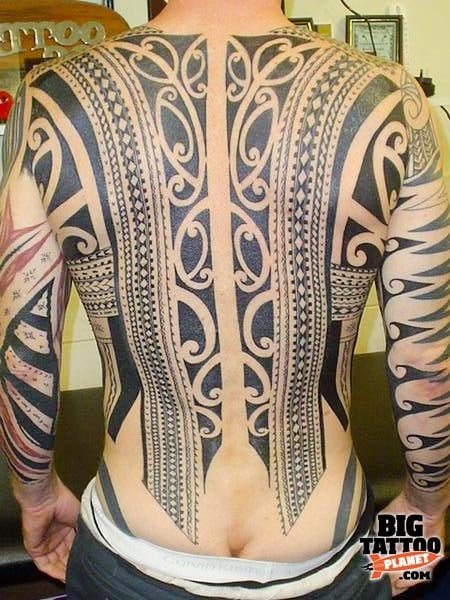 Unique Polynesian Back & Arm Full Body Tattoo Idea