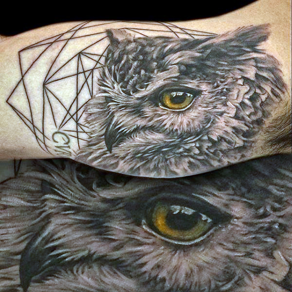 Realistic Grey Owl Tattoo