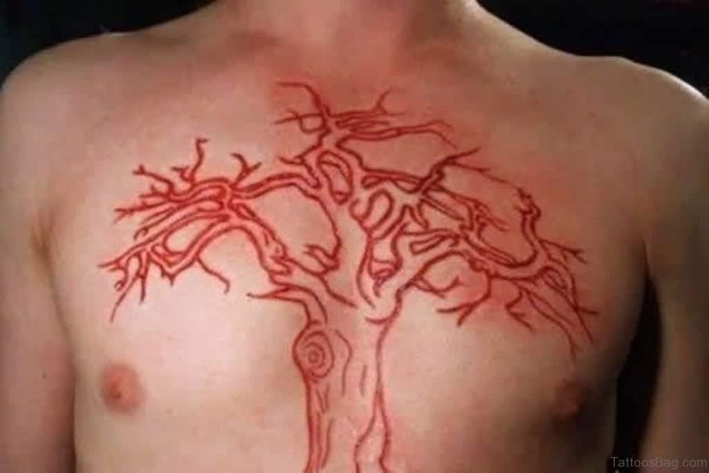 Red Ink Tree Tattoo