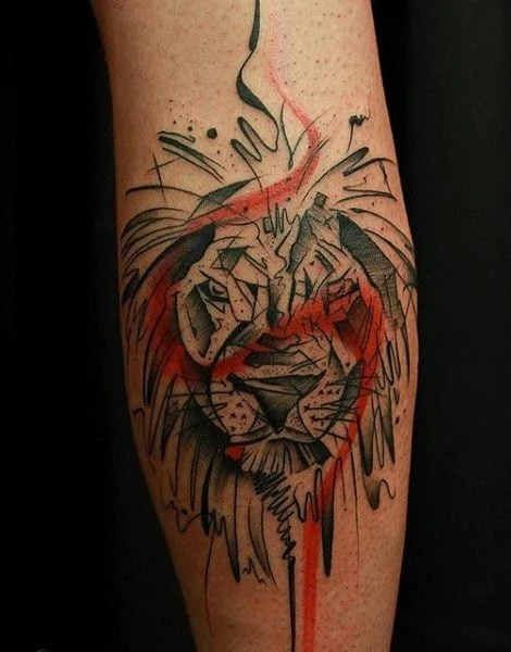 Red & Black Male Lion Tattoo