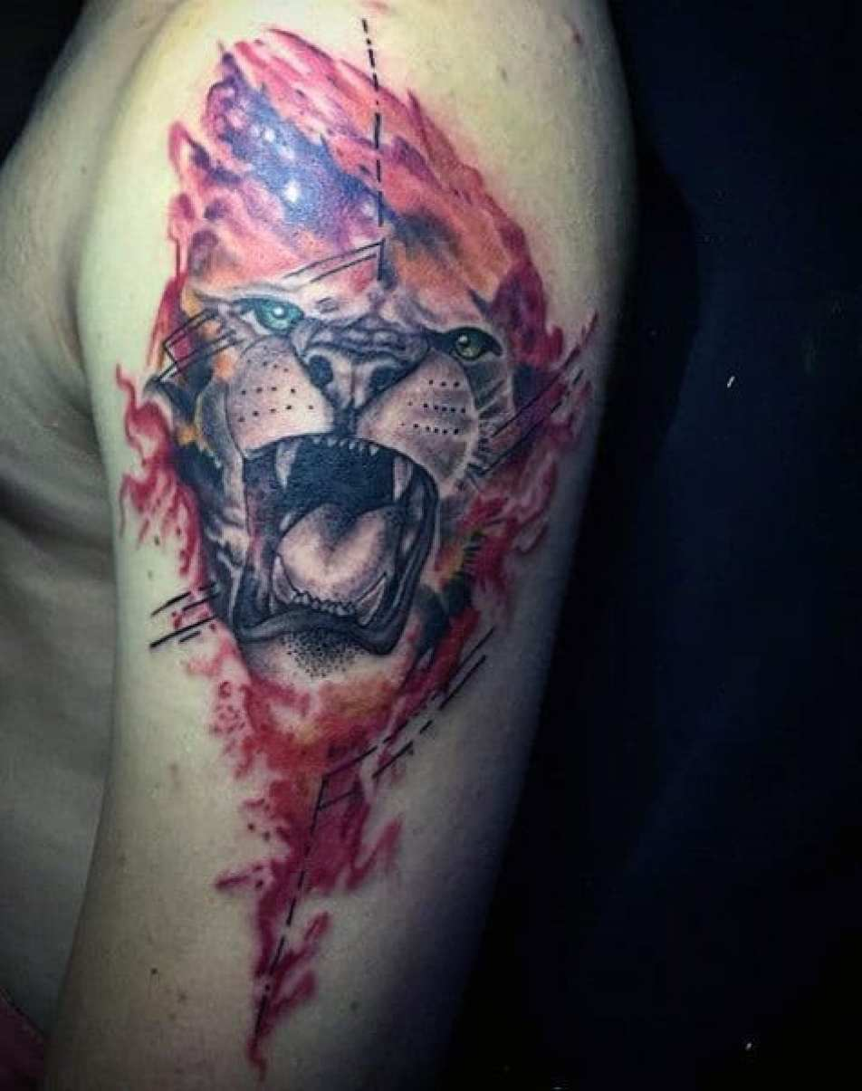 Red Arm Lion Roaring Tattoo