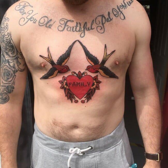 2 Birds Chest Tattoo