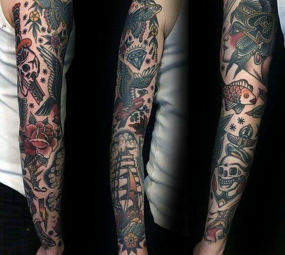 Vintage Male Sleeve Tattoo