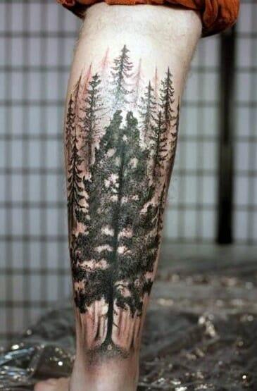 Stylish Men's Tree Leg Tattoo