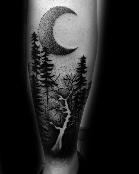 Tree & Moon Mens Leg Tattoo