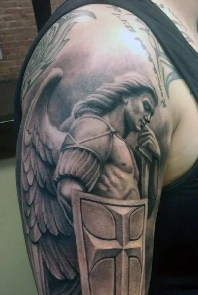 Angel & Shield Cross Tattoo