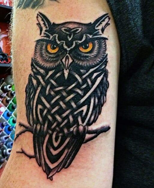 Tribal Owl Head Tattoo