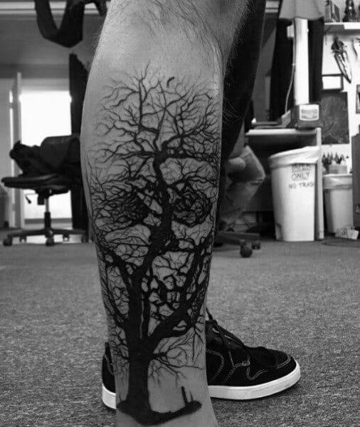 Tree Skull Leg Tattoo
