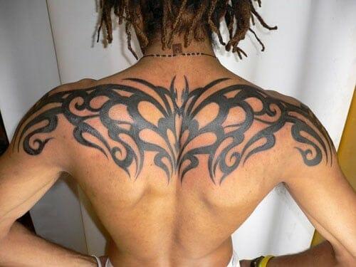 Upper Back Tribal Tattoo