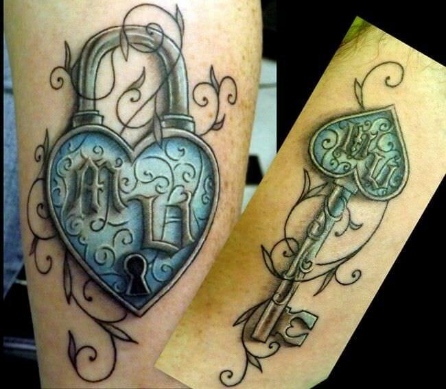 key & lock tattoo