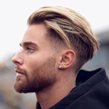 Blonde Highlight Layered Medium Low Fade & Styled Full Beard