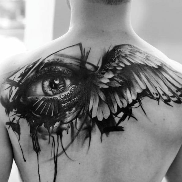 Eye & Bird Back Tattoo
