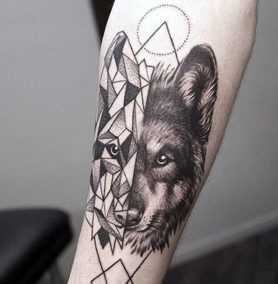 Geometric Wolf Forearm Tattoo