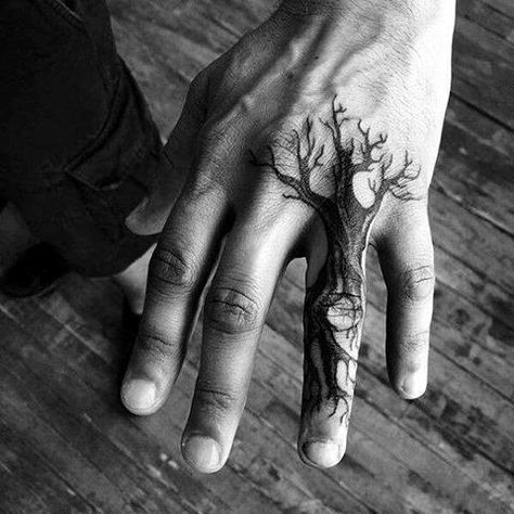 Small Tree Finger Hand Tattoo