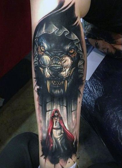 Red Riding Hood Wolf Tattoo