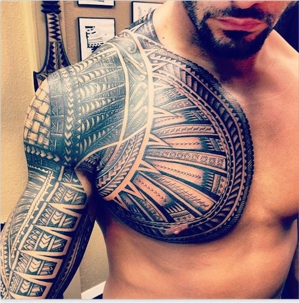 Samoan Tribal Chest & Arm Sleeve Tattoo