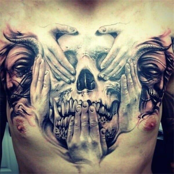 Unique Skull Chest Tattoo