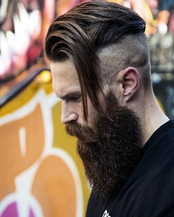 Skin Sides With Brown Medium Hair and Great Beard Style